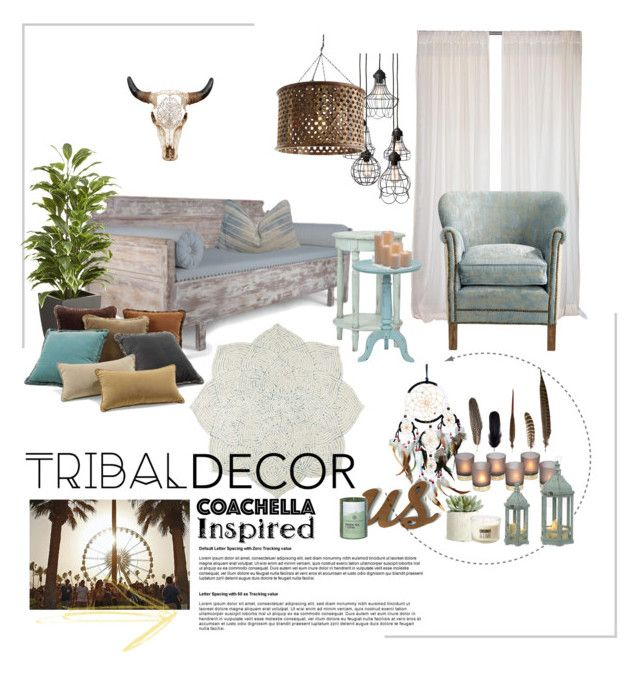 """Tribal decor; coachella inspired"" by lizriepen ❤ liked on Polyvore featuring interior, interiors, interior design, home, home decor, interior decorating, Pier 1 Imports, Dot & Bo, Arteriors and WALL"