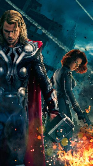 Avengers – Black Widow – Chris Hemsworth – Feu – Flammes – Nuit – Scarlett Johansson – Super-héros – Thor
