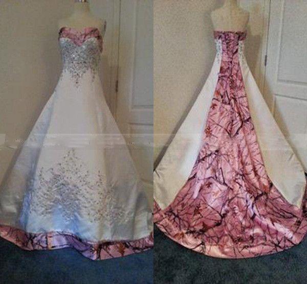 Discount Custom Made Colored Pink Camo Wedding Dresses A Line