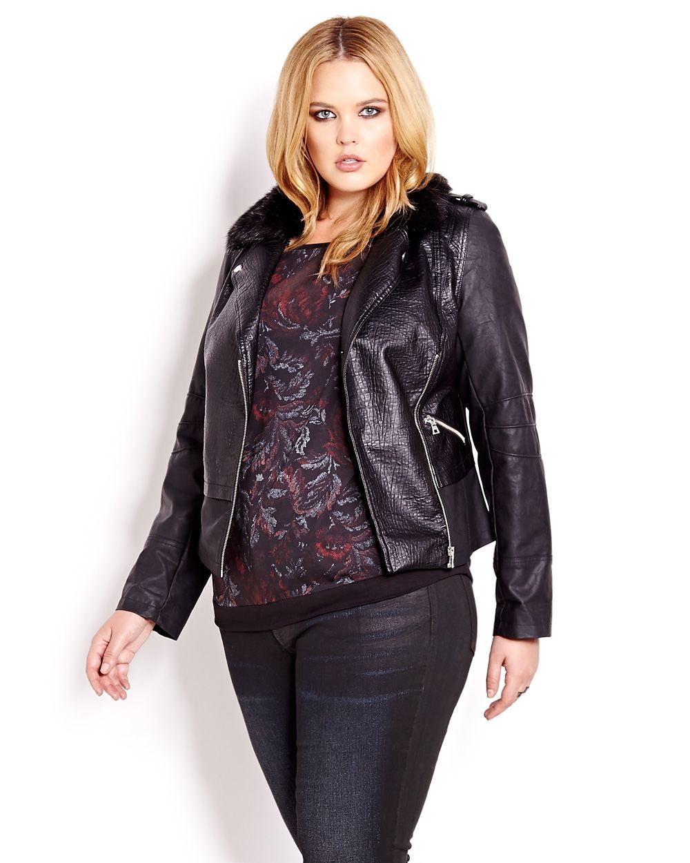 Love & Legend Faux Leather Jacket With Fur Trim Addition