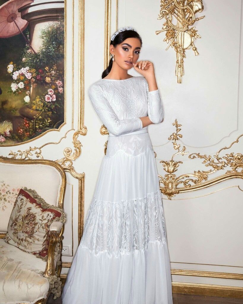 52584043fb37 Simple boho lace modest wedding gown with long sleeves Wedding Gowns 2017, Modest  Wedding Gowns