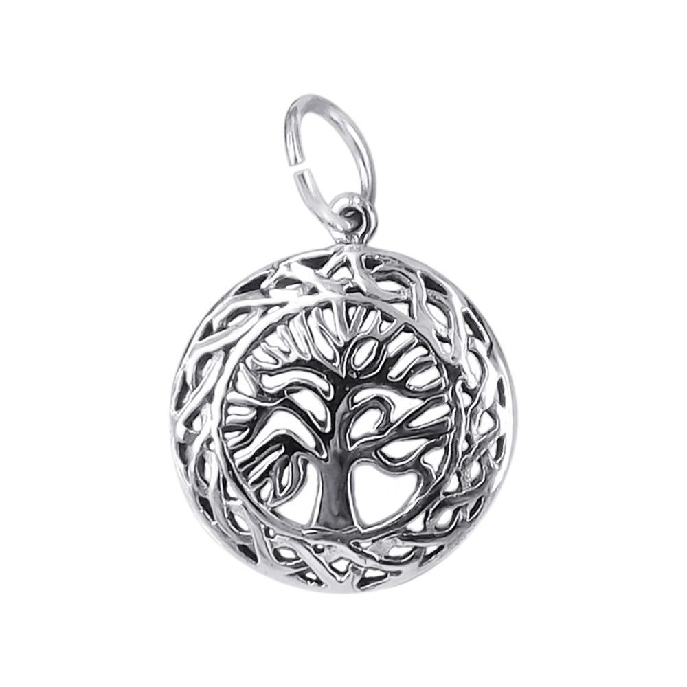 Stylish and earthy, this pendant features a detailed 'Tree-of-Life' design framed with Celtic patterns. The jewelry is crafted of fine sterling silver and a polished finish.  A trendy piece that compliments your natural beauty and charm.