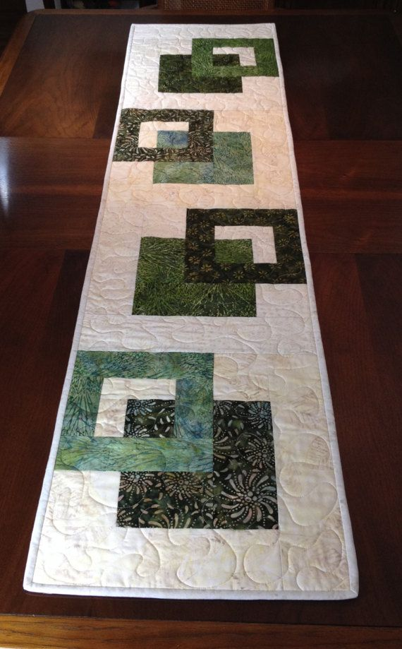 Modern Batik Table Runner Handmade Green Quilted