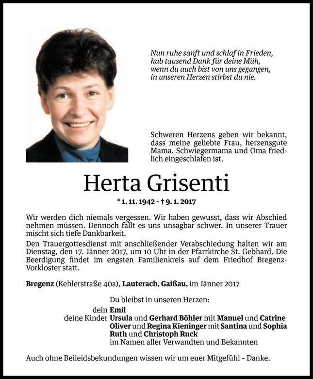 Todesanzeige Für Herta Grisenti Vom 13.01.2017   VN Todesanzeigen