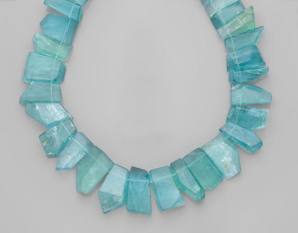 Aquamarine Bead Necklace of Brazilian origin 1020 cts 2-3000 usd