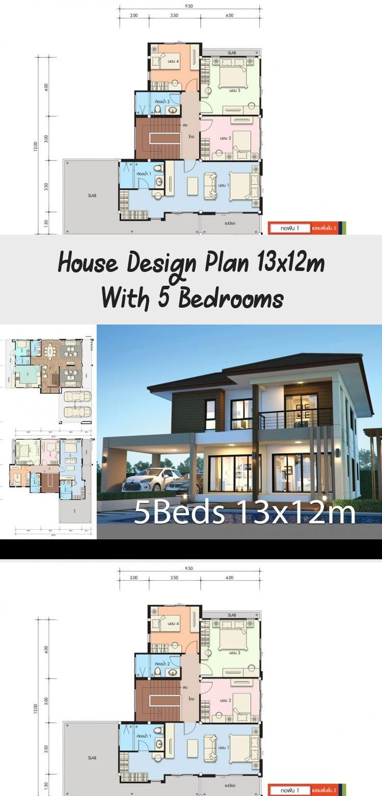 House Design Plan 13x12m With 5 Bedrooms Home Design With Plansearch Classicmodernhouses Cheapmodernhouses Mod In 2020 Home Design Plans House Design Modern House