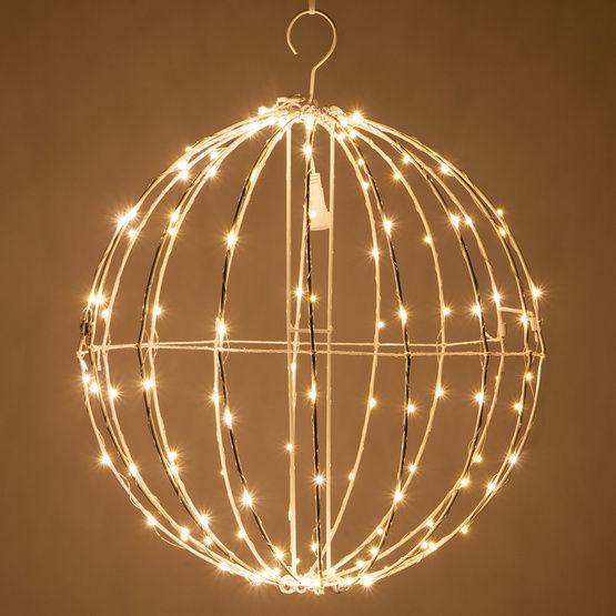 Warm White LED Fairy Christmas Light Ball, Fold Flat White Frame