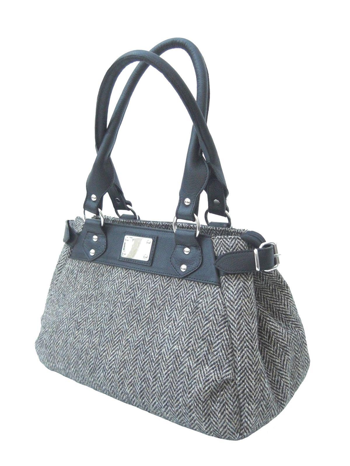 ec8a0858cd42 Harris Tweed Gray Herringbone Handbag with black leather trims ...
