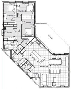 Plan De Maison Plein Pied En V | Plan Maison Plein Pied ...
