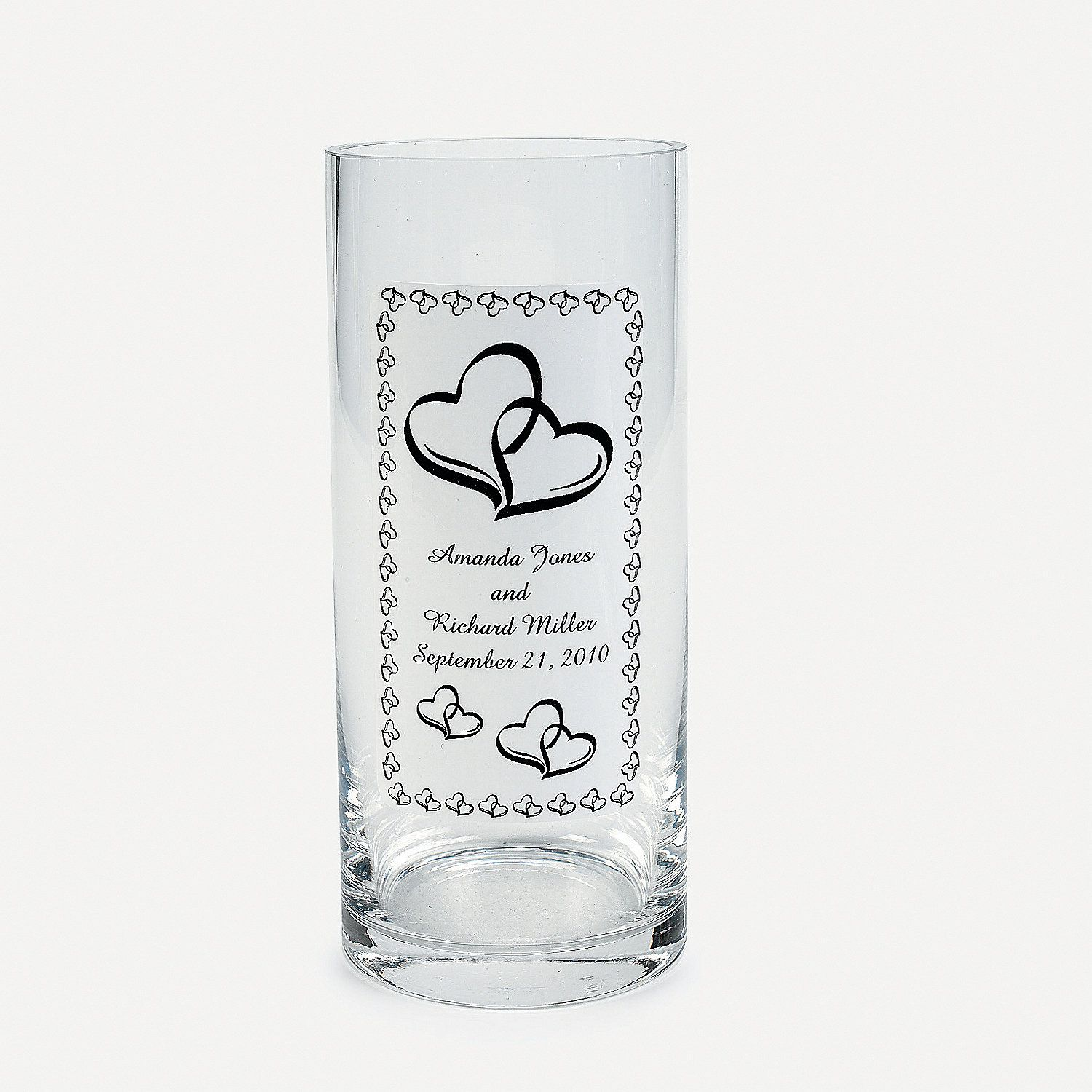 Personalized Two Hearts Wedding Glass Cling Orientaltrading Com