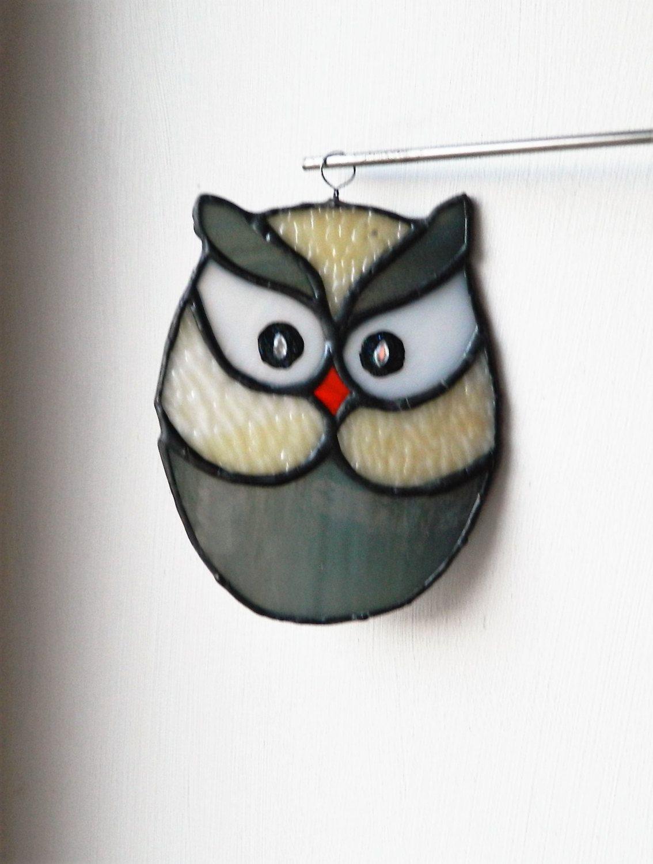 Owl stained glass decor window Suncatcher, gift for bird lovers, best selling…