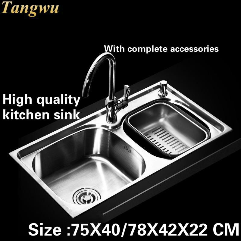 Tangwu Food Grade 304 Stainless Steel Kitchen Sink Double Groove