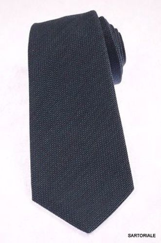 KITON Napoli Hand-Made Seven Fold Solid Green Textured Silk Tie NEW