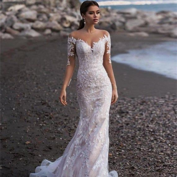 Booma Elegant Lace Appliqued Mermaid Wedding Dresses for Women Long Sleeve Beach Wedding Gowns Back Illusion Bride Dresses