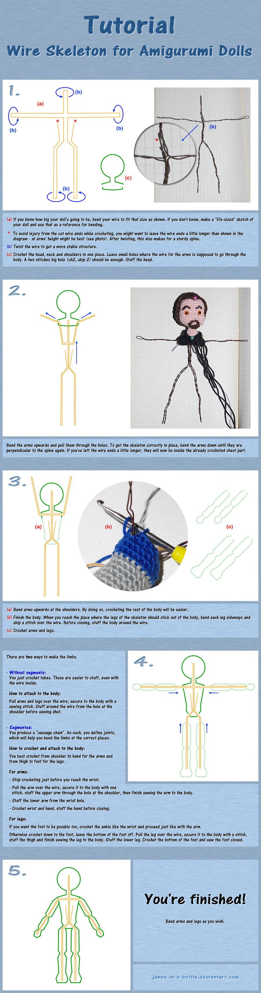 Tutorial: Como armar esqueleto de alambre para amigurumi | Amigurumi ...