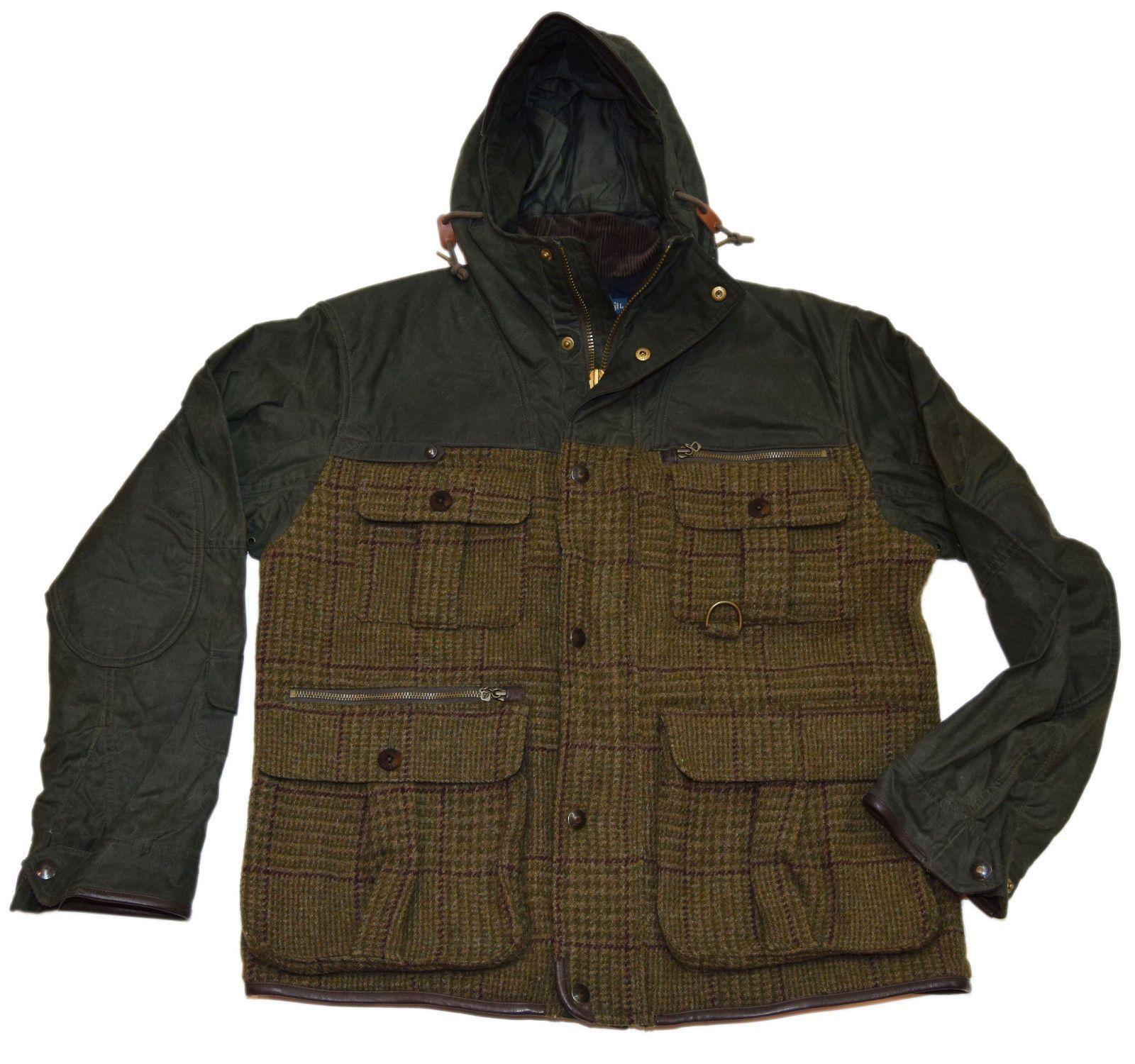Polo Ralph Lauren Mens Wool Leather Hooded Jacket Coat