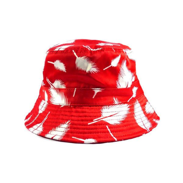 fc3eb55e7eb Radisrad Fly Bucket Hat in Red ( 25) ❤ liked on Polyvore featuring mens