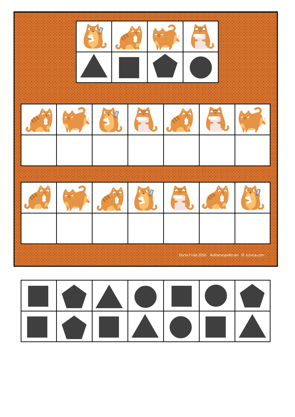 Board And Tiles For The Cat Visual Perception Game By