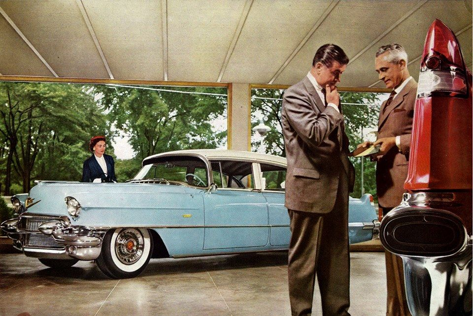 Cadillac showroom - 1956 | Vintage car dealers & gas stations ...