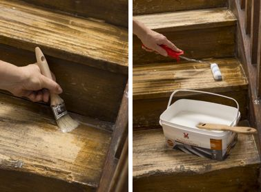 peindre un escalier en bois avec la peinture r novation v33 contre marche angles et pinceaux. Black Bedroom Furniture Sets. Home Design Ideas