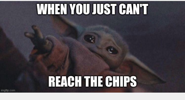 Baby Yoda Can T Reach The Chips Yoda Meme Funny Pix Yoda