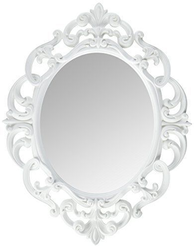 White Oval Wall Mounted Decorative Framed Mirror Ornate Vintage ...