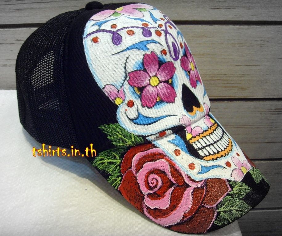baseball caps for babies uk near me large dogs handmade skull tattoo hat painted hand painting hats trucker new