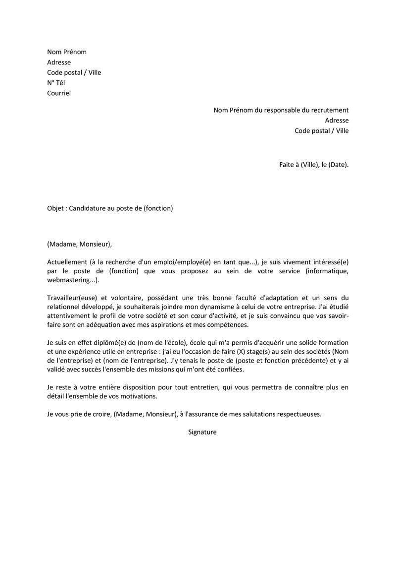 38 Comment Ecrire Une Lettre De Motivation En Francais Job