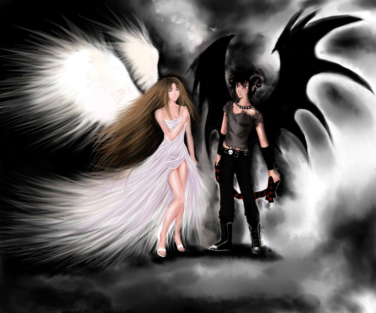 Angel And Demon By Theliazein On Deviantart Angel Wallpaper Angels And Demons Demon