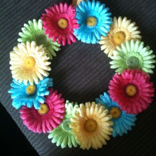 I used some brighter flowers, but I'm very excited to use my summer wreath.