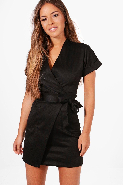 Petite Obie Tie Wrap Dress Boohoo Uk Wrap Dress Wrap Dress Outfit Black Wrap Dress