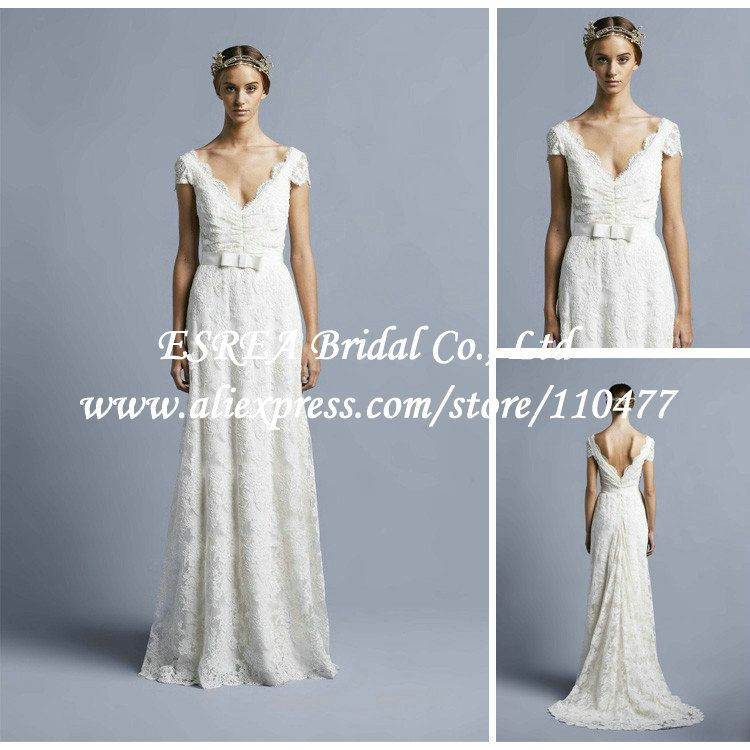 v neck backless short sleeved wedding dress - Google Search ...