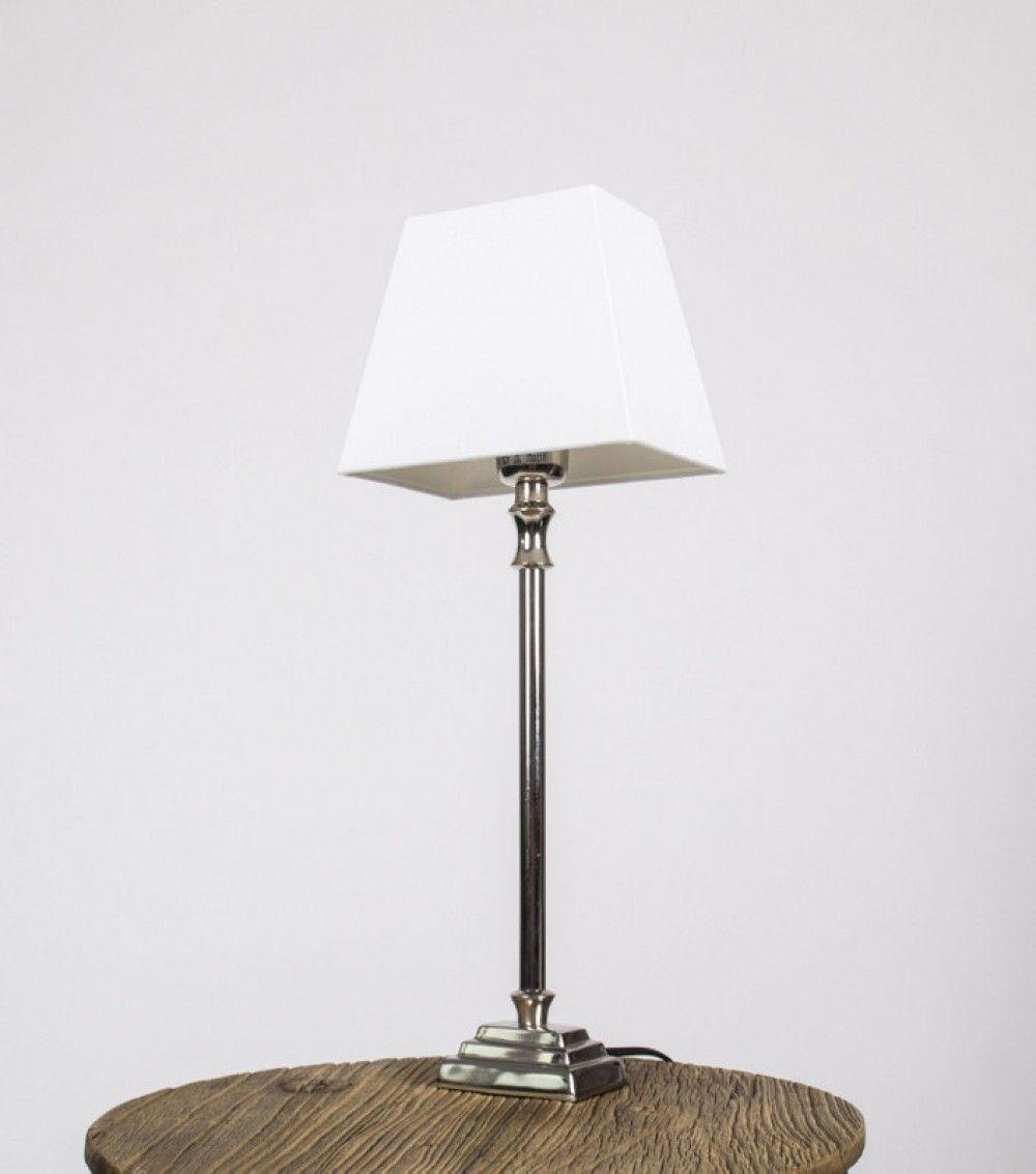 tischleuchte mit wei en lampenschirm tischlampe verchromt h he 50 cm wohnzimmer pinterest. Black Bedroom Furniture Sets. Home Design Ideas