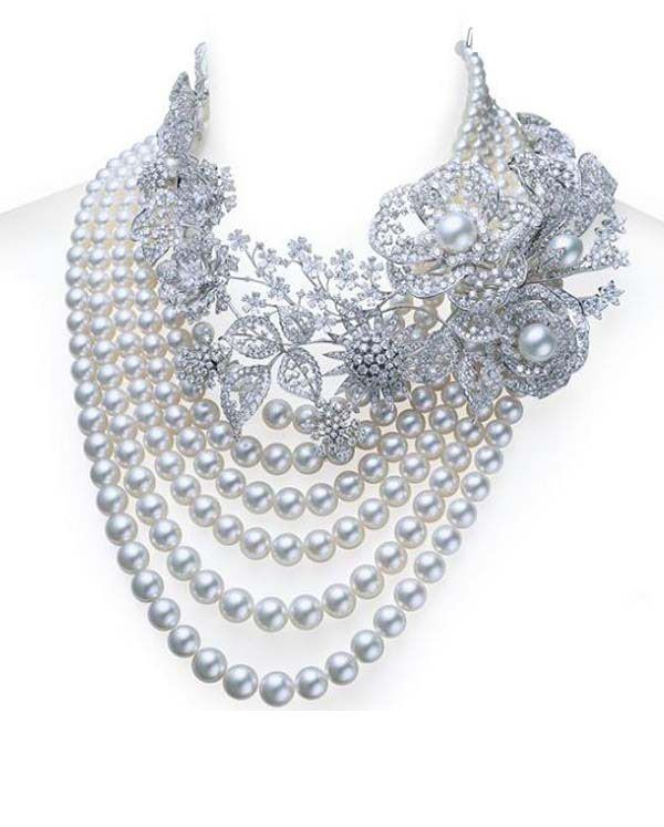 Diamond and pearl pendant necklace : Pearl diamond necklace of mikimoto hot trendy fashion