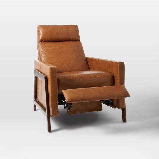 Spencer Wood Framed Leather Recliner In 2019 Furniture