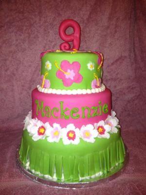 Luau Birthday Cake This cake is three tiers The bottom tier 10