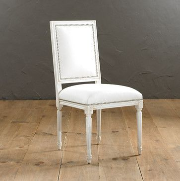 Square Louis Side Chair with Pewter Nailhead Trim - traditional