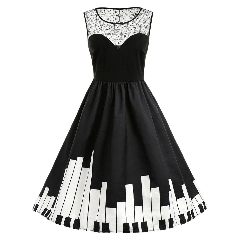 Photo of Plus Size Piano Pattern Vintage Dress – Black – 3N93912812 Size L
