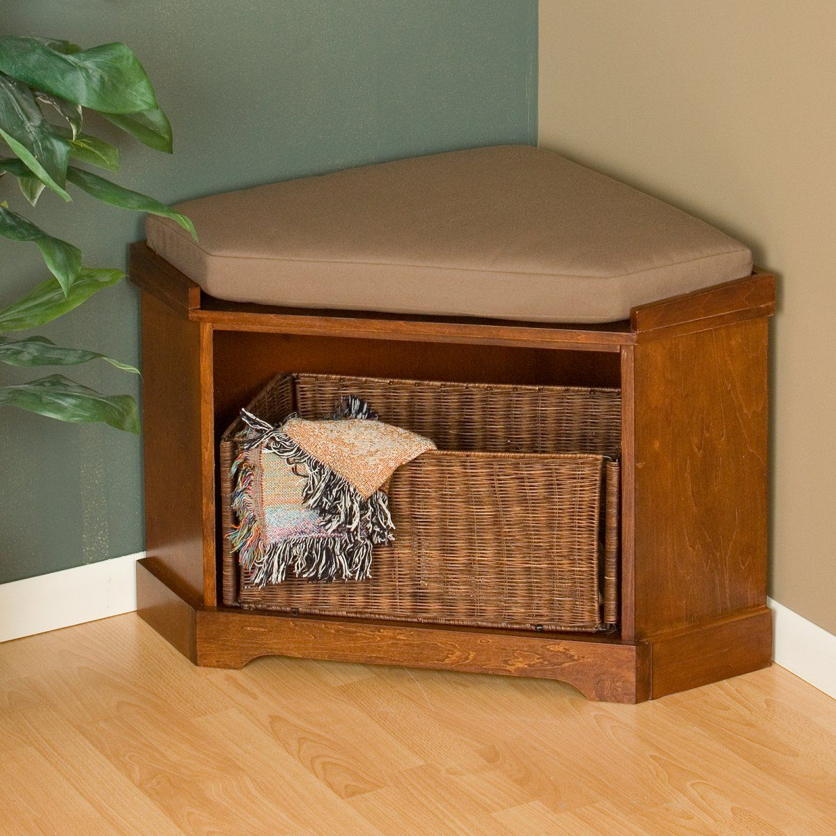 Nantucket Corner Storage Bench with Basket Brown