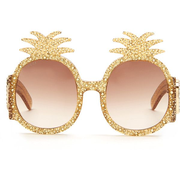 44884f7a7db Gucci Embellished pineapple glitter-acetate sunglasses ( 924) ❤ liked on Polyvore  featuring accessories