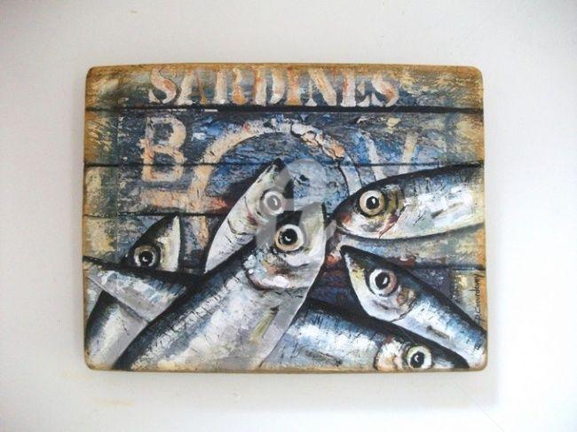 SARDINES SUR PEINTURE DE BATEAU ECAILLEE (Peinture) par Philippe - peinture bois et fer