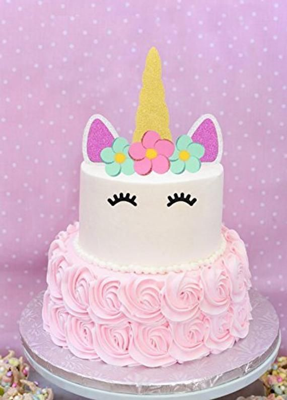 Unicorn Cake Topper Happy Birthday Cake Decoration Gold
