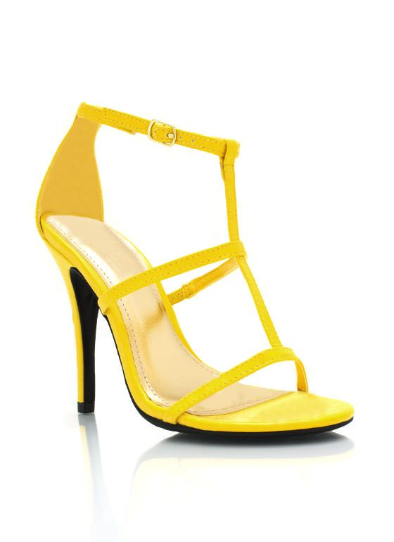 These strappy, neon heels are perfect this season.