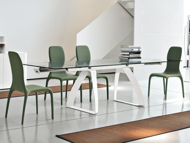 Tonin Casa contemporary brenta extending dining table in white F