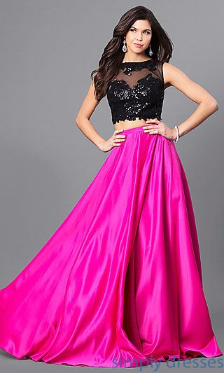 835dac475bb Shop fuchsia pink and black prom dresses at Simply Dresses. Two-piece long  formal dresses with sequined open-back illusion tops and satin skirts.