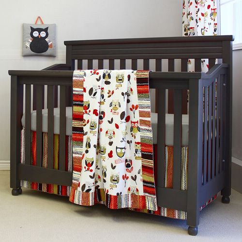 Whoo would have thought that owls could be so endearing? Bright bold colours and large questioning eyes will keep your baby entertained. Go to: http://stylemynursery.com/product/whooligans-crib-bedding-set/