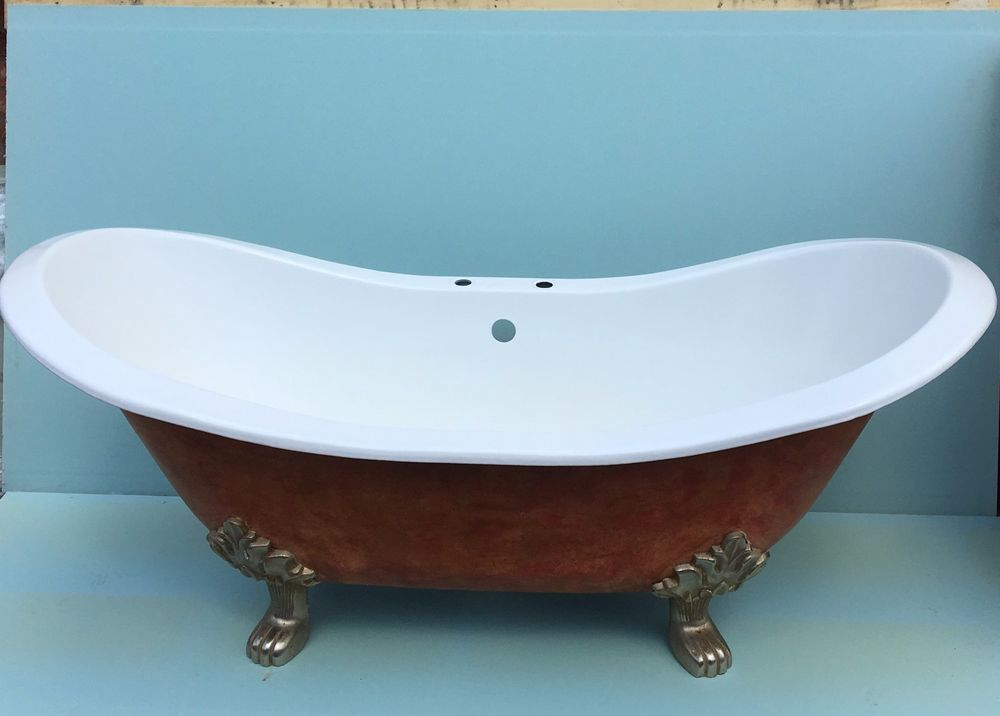 Free standing roll top double ended cast iron slipper bath & cast ...