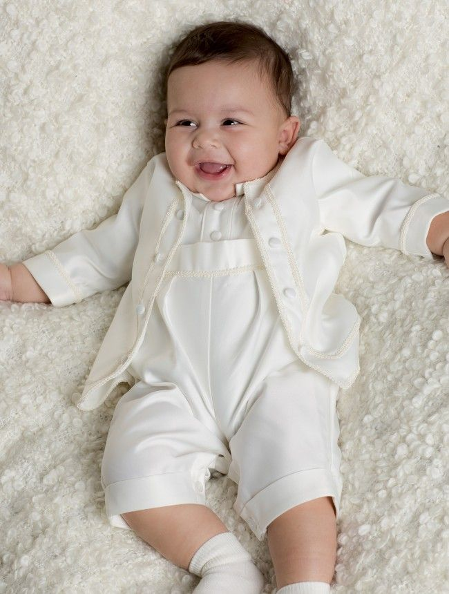 23ac1a592 Baby boys ivory christening romper suit - Zakariyah | Heirloom ...