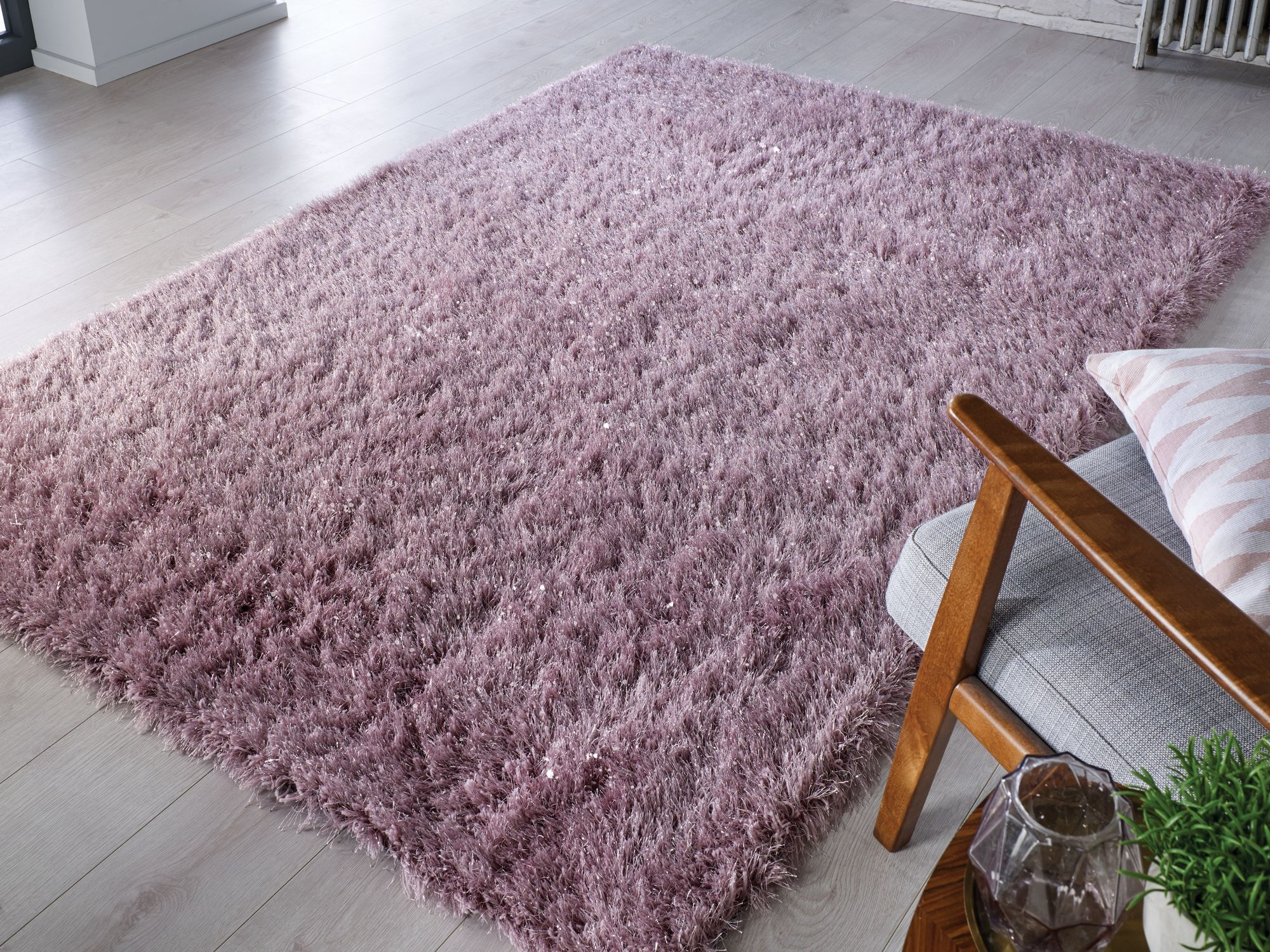 Dazzle Shine Shaggy Mauve Rug In 2020 Mauve Rug Shaggy Rug Rugs In Living Room