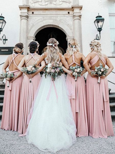 Pretty Mismatched Pink Satin Long Bridesmaid Dresses Vpwg307 Bridesmaid Dresses M Brautjungfernkleider Rosa Brautjungfernkleider Brautjungfernkleider Lang